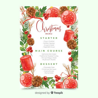 Watercolour christmas menu template with globes and candles