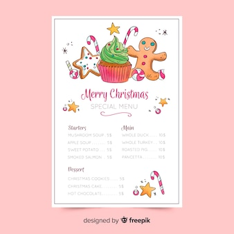 Watercolour christmas menu template