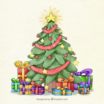 Watercolour christmas tree decorated with a star and baubles