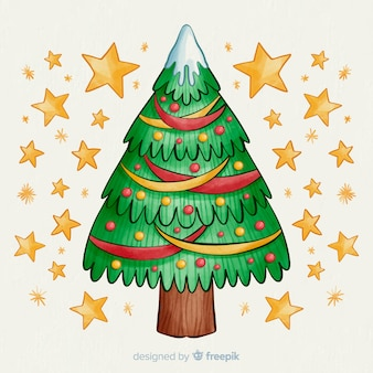 Watercolour christmas tree with golden stars