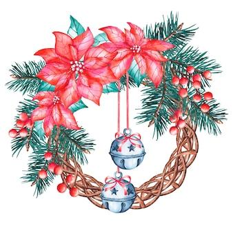 Акварельный рождественский венок с цветком пуансеттия