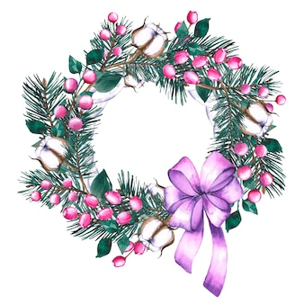 Watercolour christmas wreath with violet ribbon