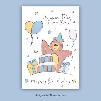 Watercolour collection of birthday cards