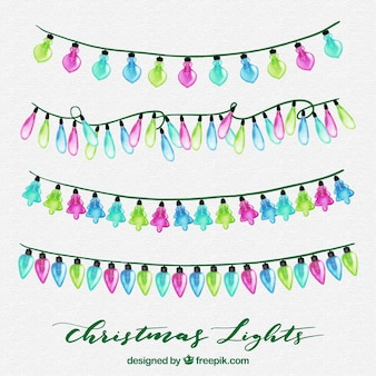 Watercolour collection of christmas lights
