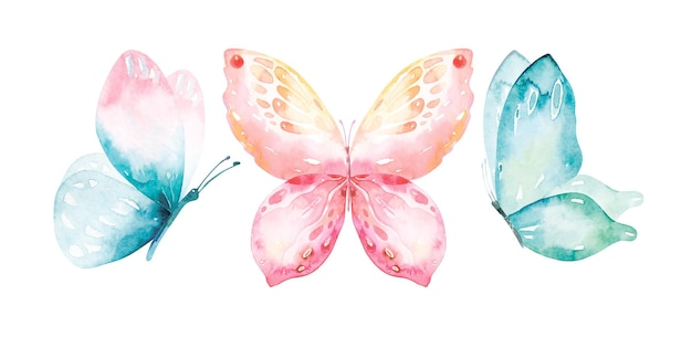 Watercolour collection of flying butterflies.