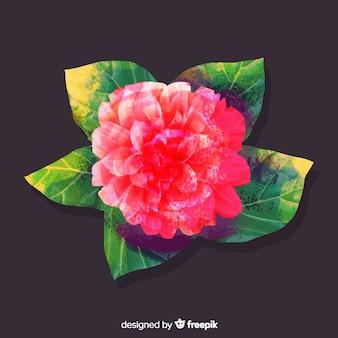 葉と水彩のサンゴの花