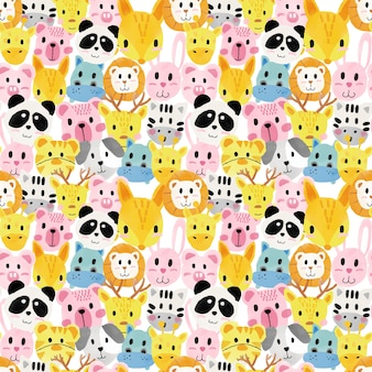 Watercolour cute animal faces pattern seamless