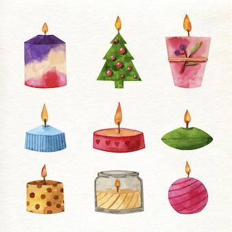 Акварельные милые свечи на рождество