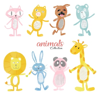 Watercolour cute wild animals set