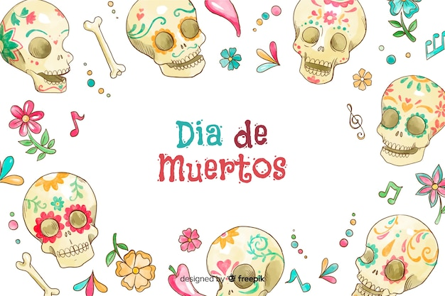 Watercolour day of the dead background