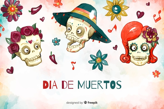 Watercolour día de muertos background