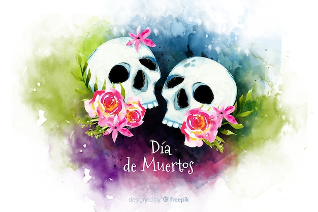 Watercolour dia de muertos couple of skulls background