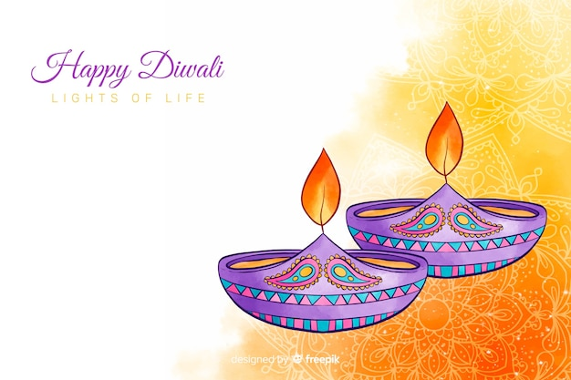 Watercolour diwali background and candles