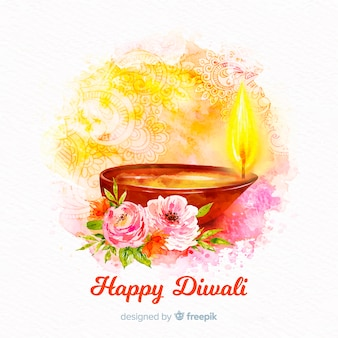 Watercolour diwali background with candle