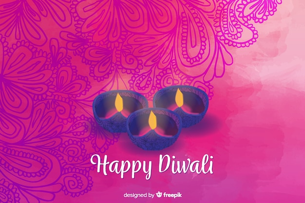 Watercolour diwali background with pink floral design