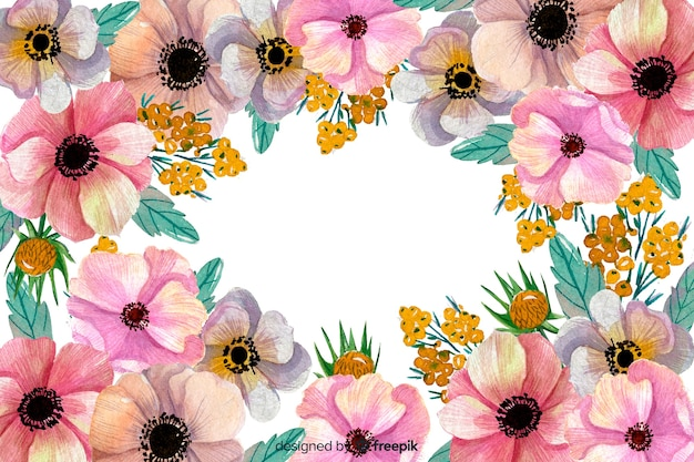 Watercolour floral background and copy space