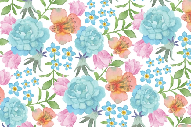 Watercolour floral background with blue roses