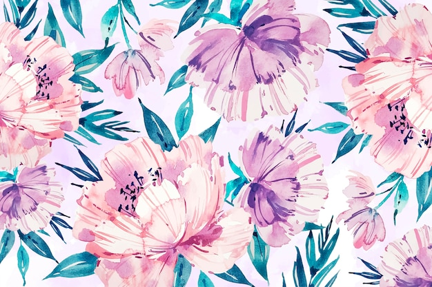 Watercolour floral background with soft colours