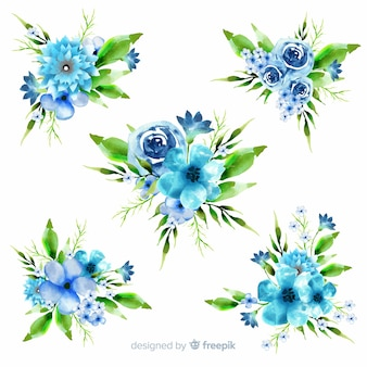 Watercolour floral bouquet collection on blue shades