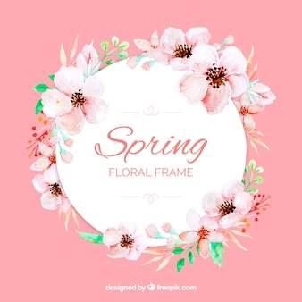Watercolour floral frame spring