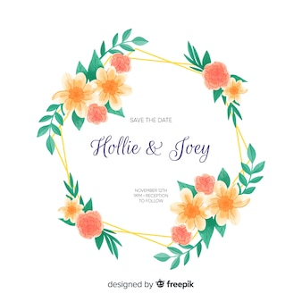 Watercolour floral frame wedding invitation