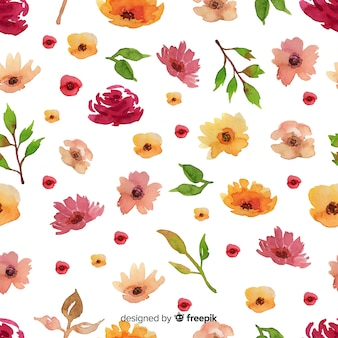 Watercolour floral seamless pattern background
