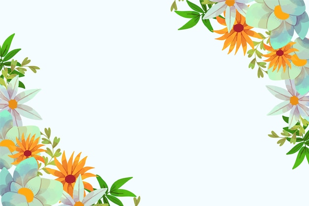 Watercolour floral spring background frame with copy space