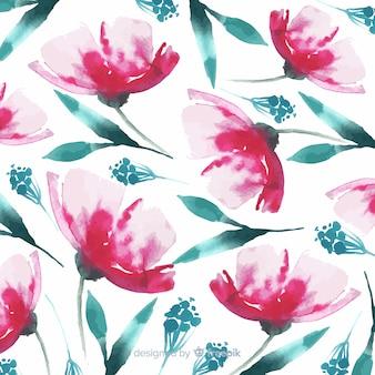 水彩花とバティックスタイルの葉