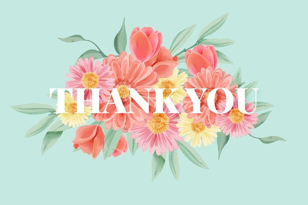 Watercolour flowers background with thank you lettering