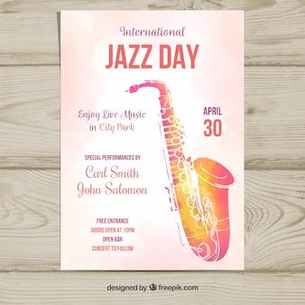 国際ジャズの日のための水彩のチラシ