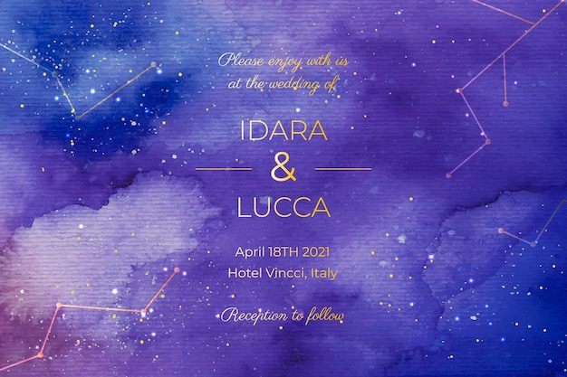 Watercolour galaxy wedding invitation