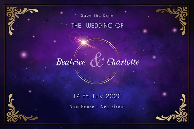 Watercolour galaxy wedding invitation