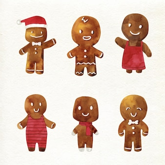 Watercolour gingerbread man cookie collection