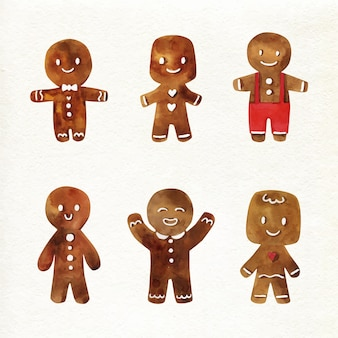 Watercolour gingerbread man cookie on white background