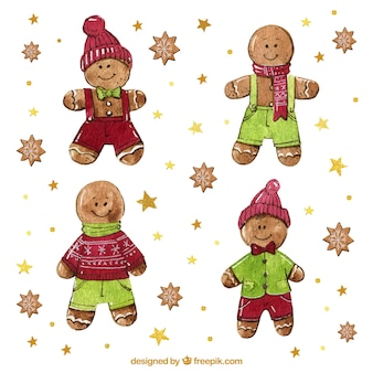 Gingerbread man vectors photos and psd files free download watercolour gingerbread man cookies collection maxwellsz