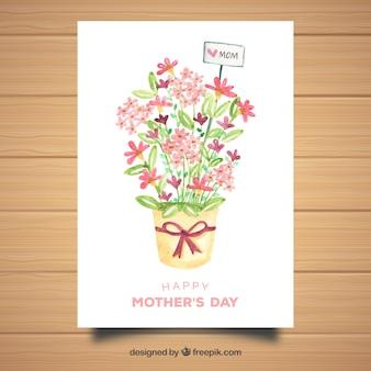 수채화 인사말 카드 해피 어머니의 날