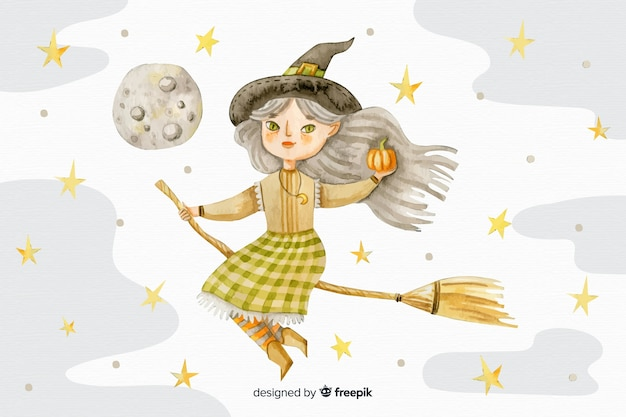 Watercolour halloween background with witch on broom