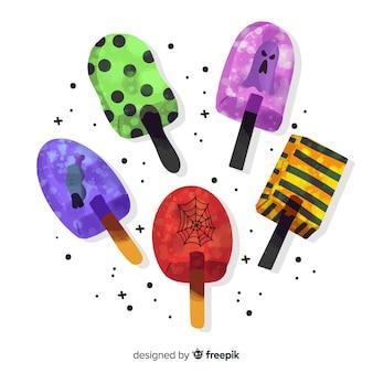 スティックコレクションの水彩ハロウィーンキャンディ