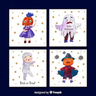 Watercolour halloween card collection