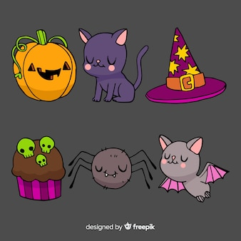Watercolour halloween cute element collection