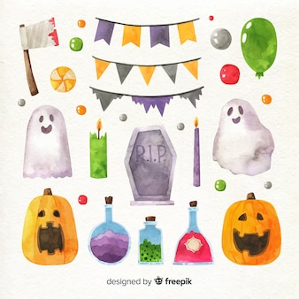 Watercolour halloween element collection