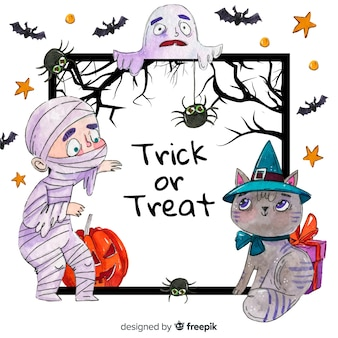 Watercolour halloween frame mummy and cat