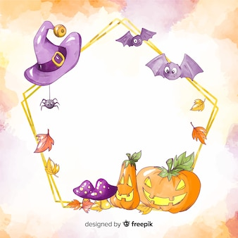 Watercolour halloween frame with pumpkin and bats