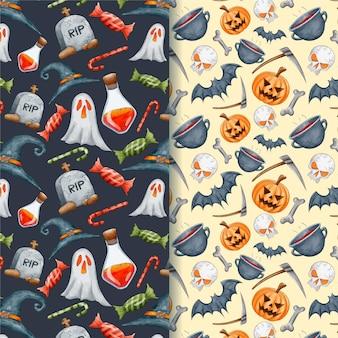 水彩のハロウィーンの幽霊とカボチャのシームレスパターン