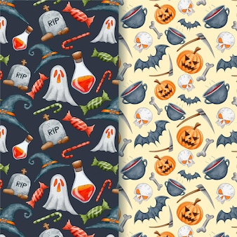 Watercolour halloween ghosts and pumpkins seamless patterns