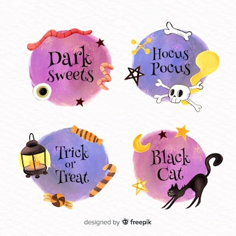 Watercolour halloween label collection