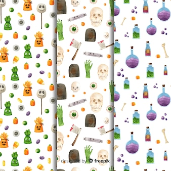 Watercolour halloween pattern collection on white background