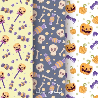 Watercolour halloween pattern collection