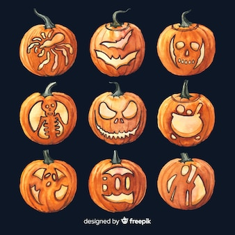 Watercolour halloween professional drawings on pumpkins