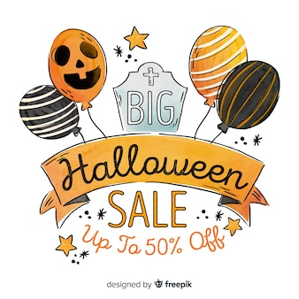Watercolour halloween sale with balloons